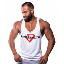 Fitnessvictim Men Classic Crosshair Stringer - weiß