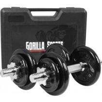 Gorilla Sports Kurzhantelset 20 kg mit Koffer