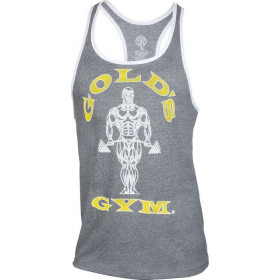 Golds Gym Muscle Joe Contrast Stringer Tank - marl/white