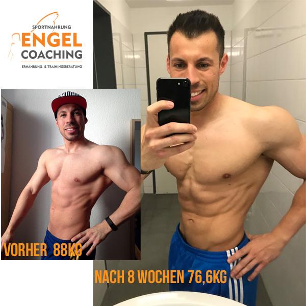 Manuel Vorher Nacher mit Sportnahrung-Engel Coaching