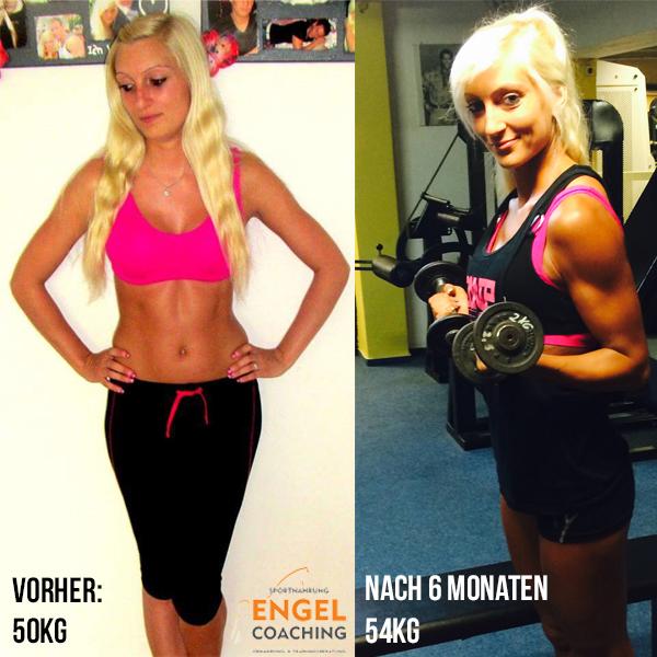 Coaching Kundin Tanja hat mit Sportnahrung-Engel Coaching Muskulatur aufgebaut und Fett verloren