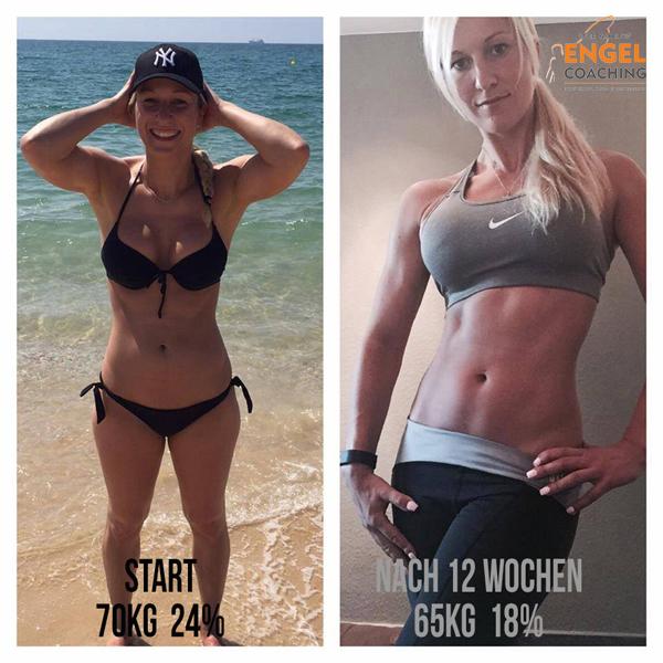 Mandy Vorher Nacher mit Sportnahrung-Engel Coaching