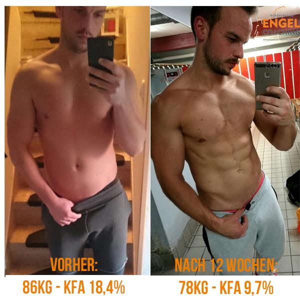 Unser Coaching-Kunde Patrick mit mehr Muskeln und weniger Fett