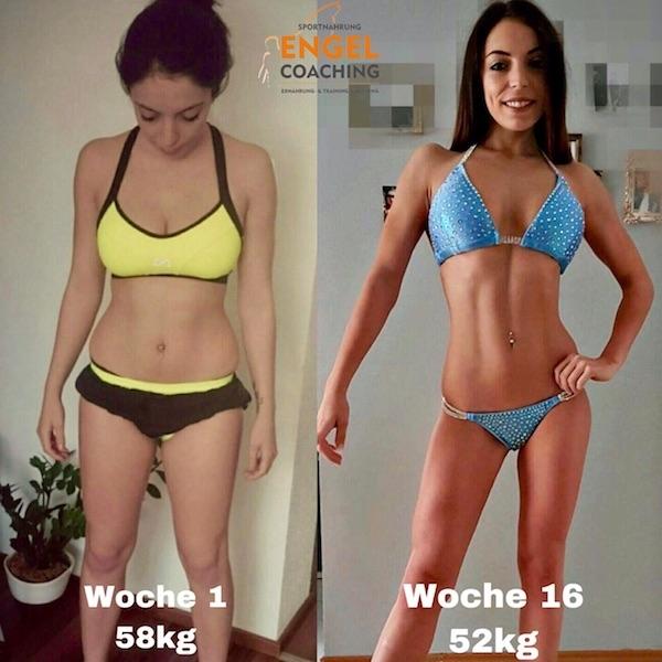 Sarah vor und nach dem Sportnahrung-Engel Wettkampf-Coaching