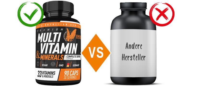 Vergleich Engel Nutrition Multivitamine und Mineralien XS