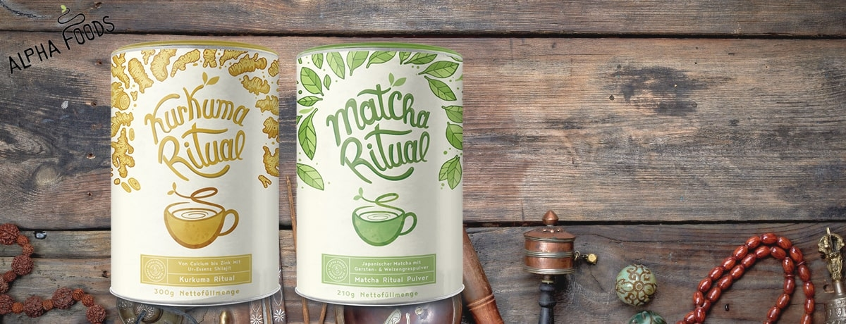 Alpha Foods Kurkuma und Matcha Superfood Drink