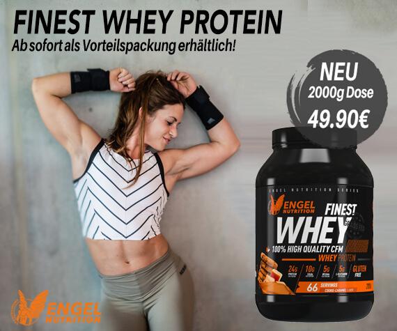 Finest Whey Protein jetzt in der 2000g Vorteilspackung erhältlich