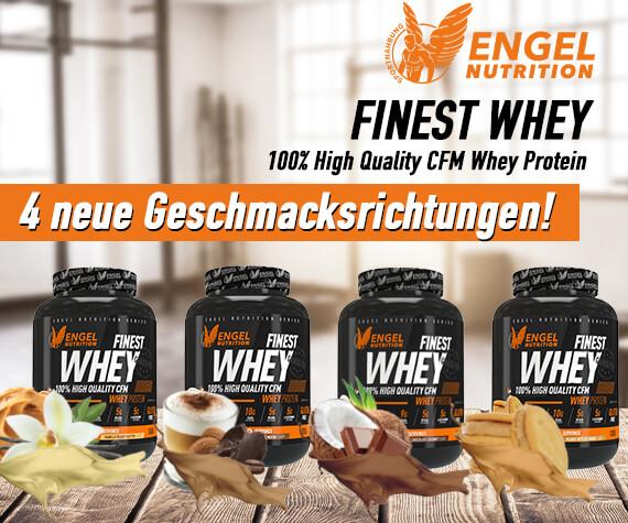 Engel Nutrition Finest Whey Protein jetzt in 4 neuen Geschmäckern erhältlich