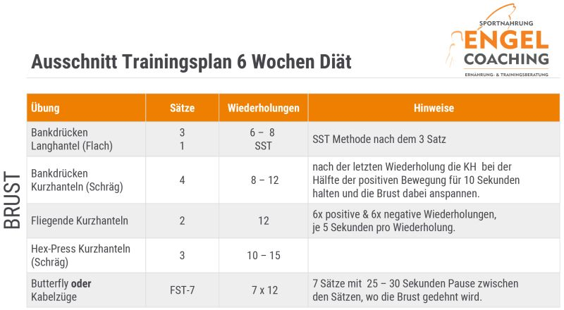 Ausschnitt Trainingsplan 6 Wochen Diät