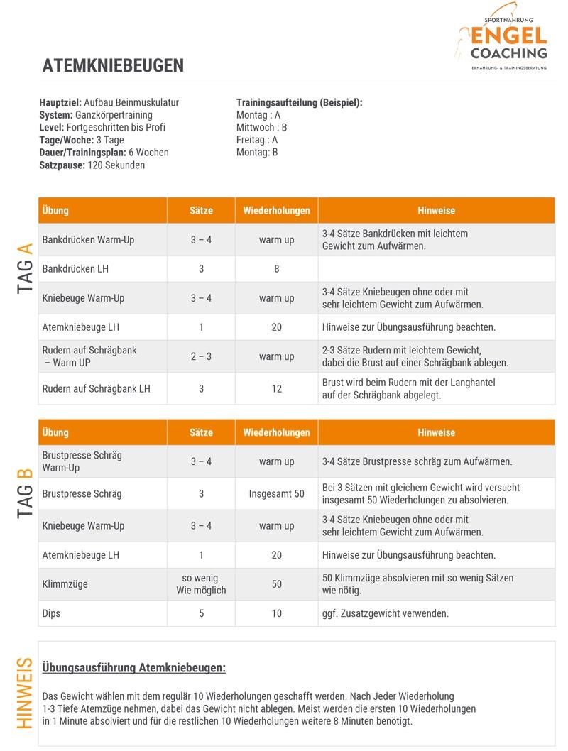 Trainingsplan PDF Atemkniebeugen Aufbau Beinmuskulatur
