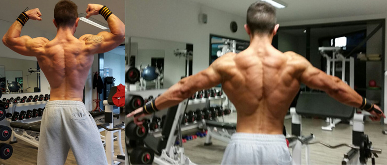 Definierter Rücken Mens Physique Athlet Andre Conrad
