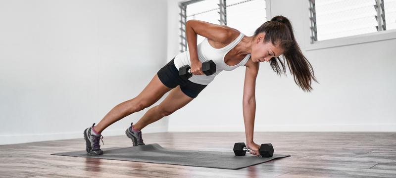 Plank Row probiozeptives Training verbunden mit Hanteltraining