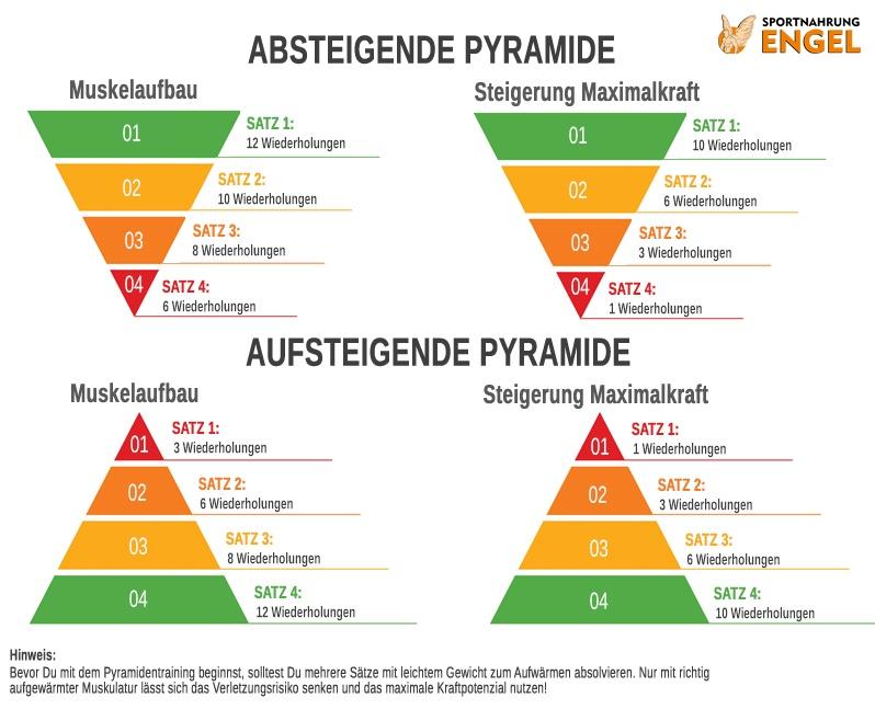 Pyramidentraining Wiederholungszahlen für Maximalkraft und Muskelaufbau