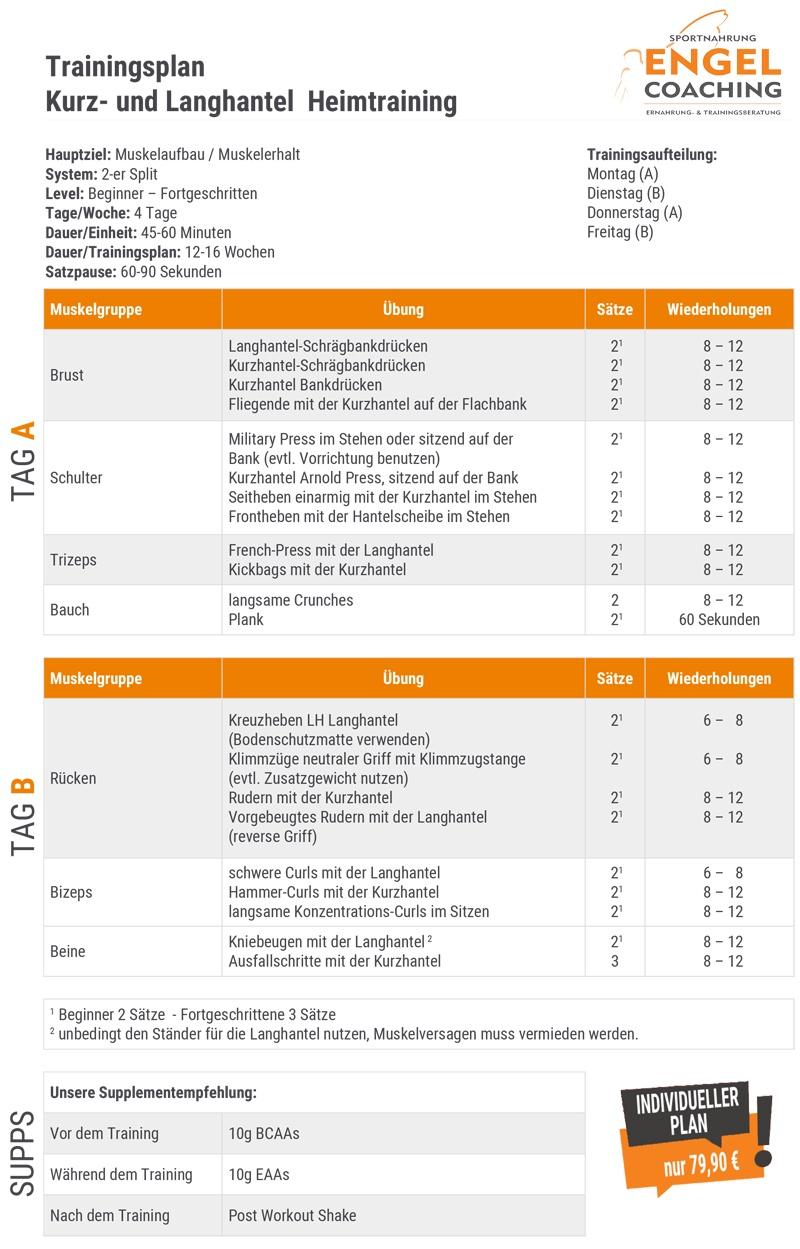 Kostenloser Trainingsplan mit Lang- und Kurzhantel für das Training zuhause.