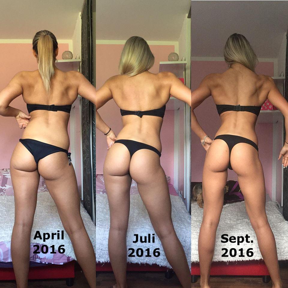 Rückenansicht von Bikini-Athletin IFBB Nicole Pruszak